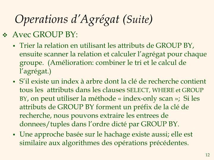 Operations d'Agrégat (