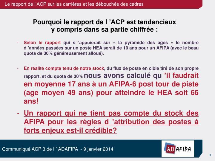 Pourquoi le rapport de l'ACP est tendancieux