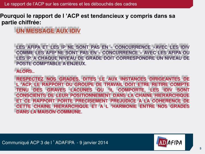 Pourquoi le rapport de l'ACP est tendancieux y compris dans sa