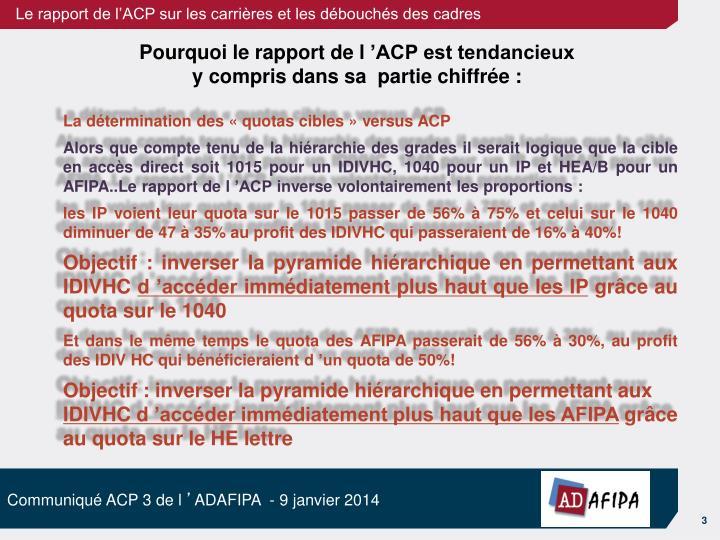La détermination des «quotas cibles» versus ACP