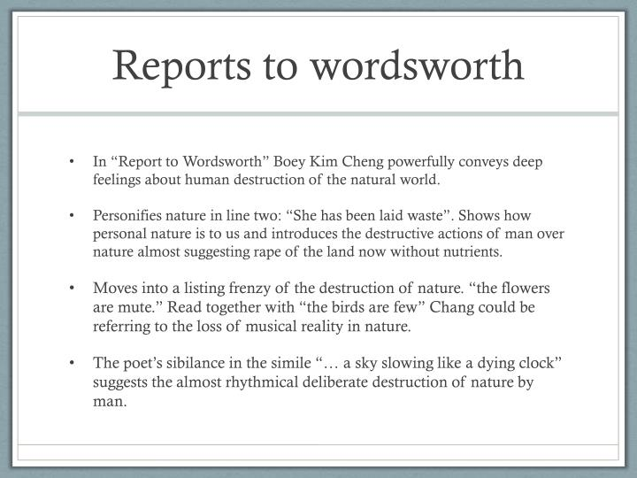 Reports to wordsworth