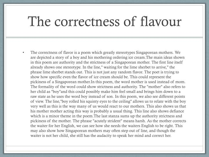 The correctness of flavour