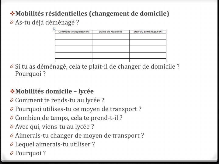Mobilités résidentielles (changement de domicile)