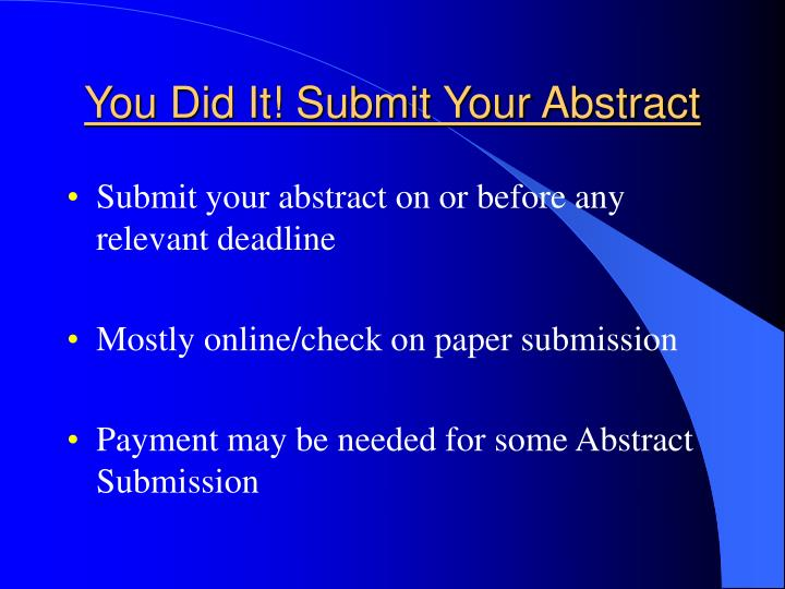 Tips for Your Poster: Writing a Conference Abstract (1)