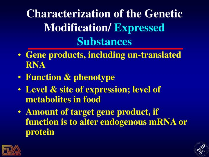 Characterization of the Genetic Modification/