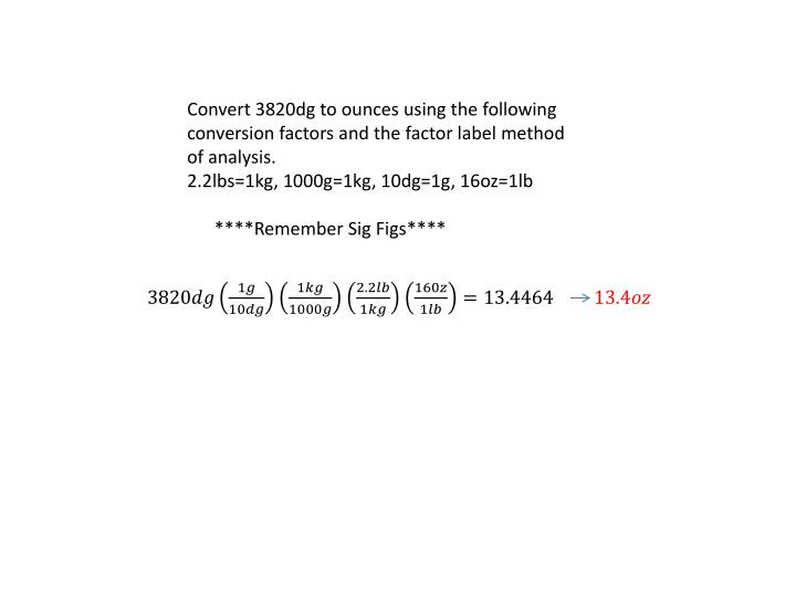 Convert 3820dg to ounces using the following conversion factors and the factor label method of analysis.