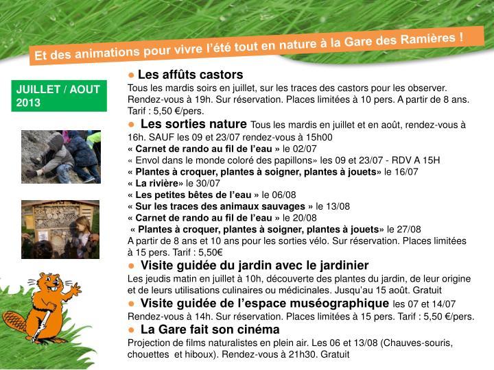 Et des animations pour vivre l'été tout en nature à la Gare des