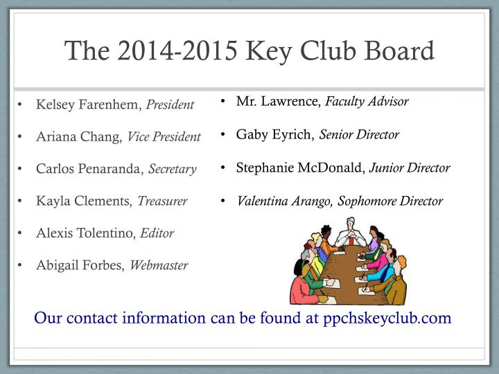 The 2014 2015 key club board