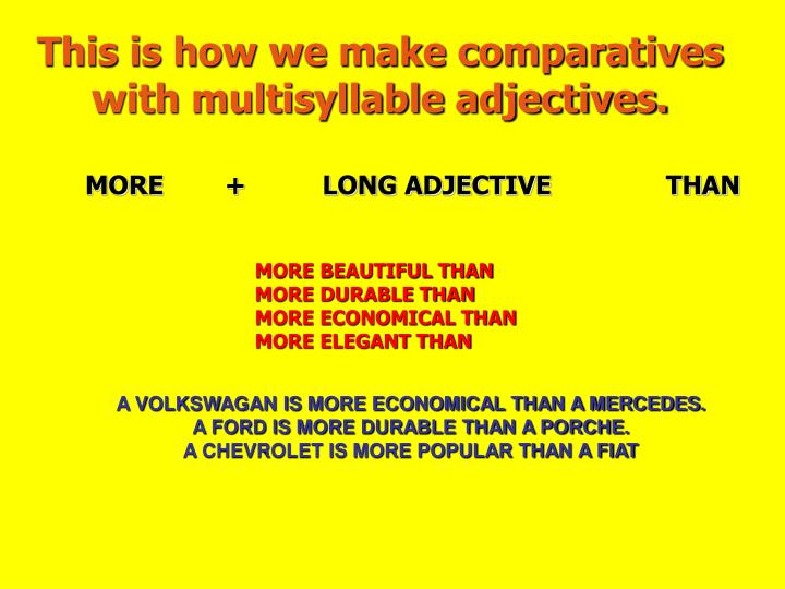 This is how we make comparatives with multisyllable adjectives.