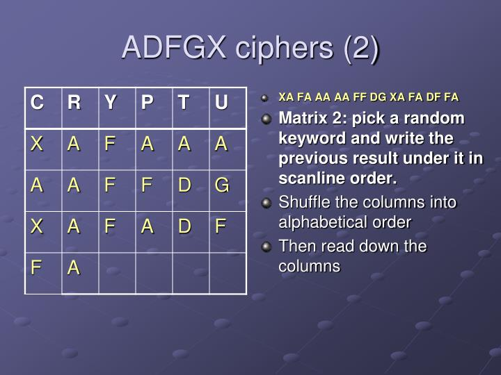 ADFGX ciphers (2)