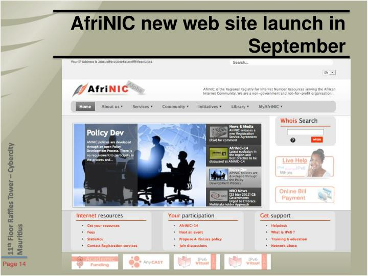 AfriNIC new web site launch in September