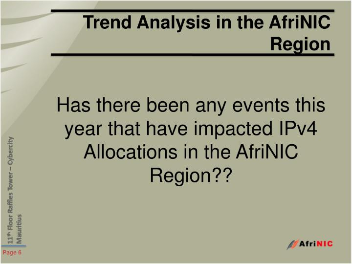Trend Analysis in the AfriNIC Region