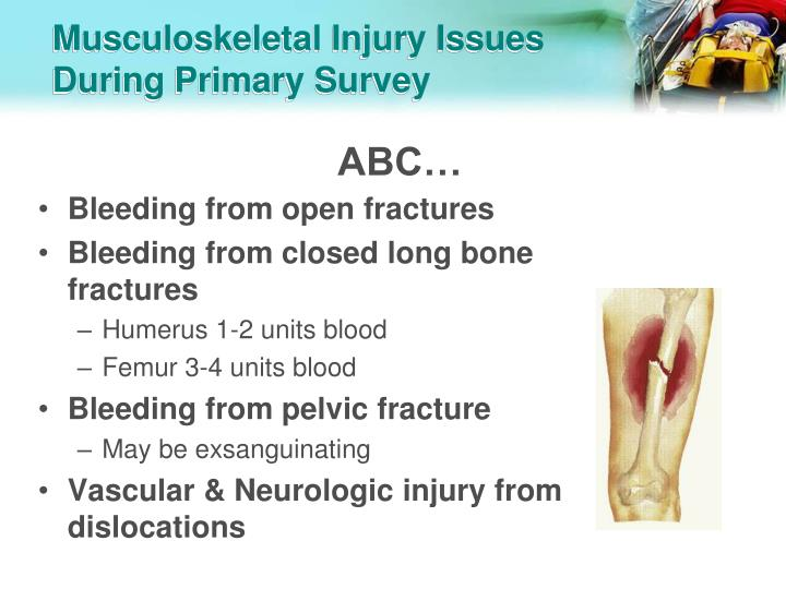 Musculoskeletal injury issues during primary survey