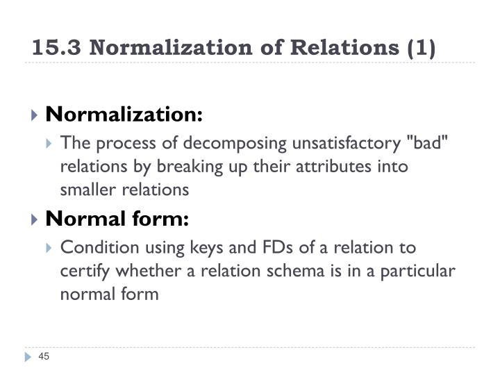 15.3 Normalization of Relations (1)