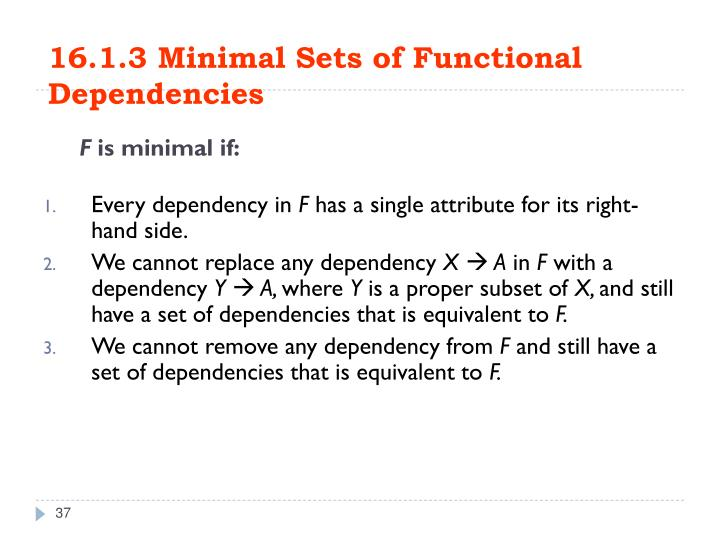 16.1.3 Minimal Sets of Functional Dependencies