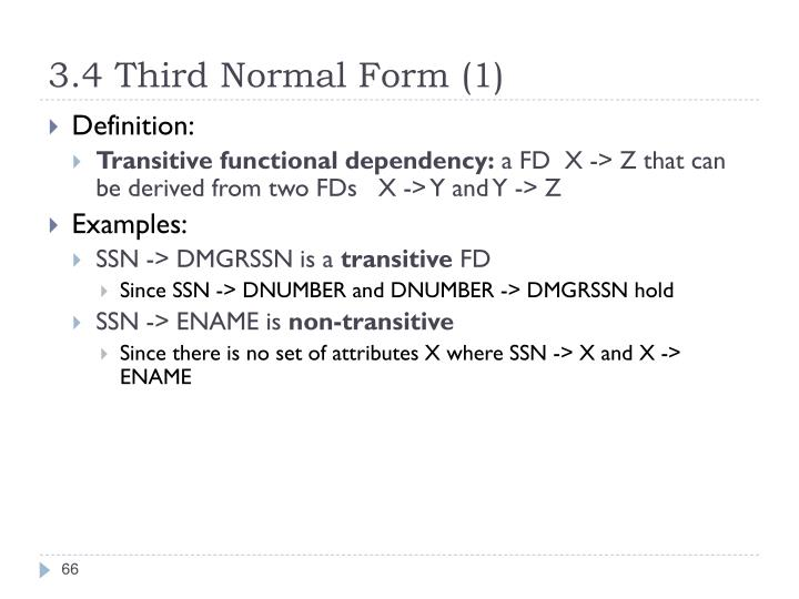 3.4 Third Normal Form (1)