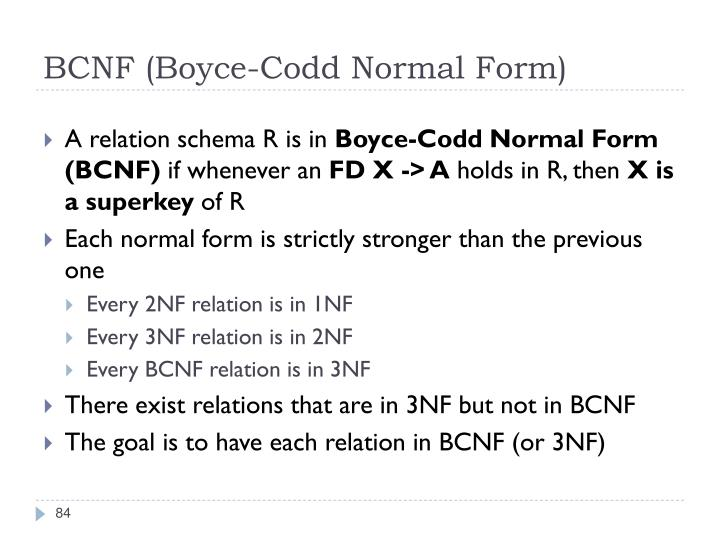 BCNF (Boyce-Codd Normal Form)