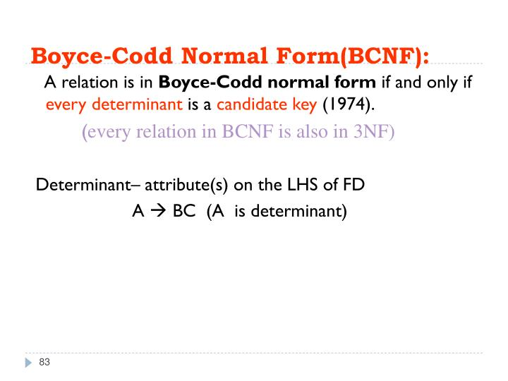 Boyce-Codd Normal Form(BCNF):