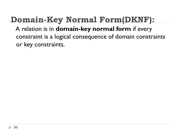 Domain-Key Normal Form(DKNF):