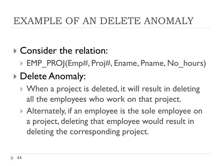 EXAMPLE OF AN DELETE ANOMALY