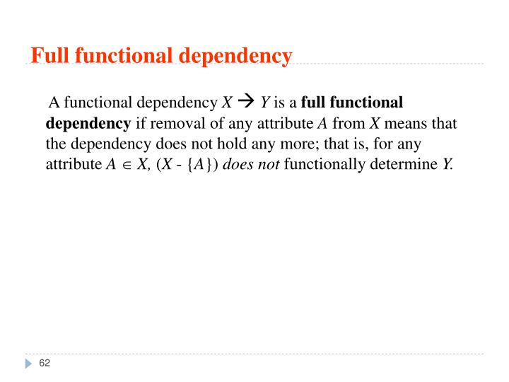 Full functional dependency