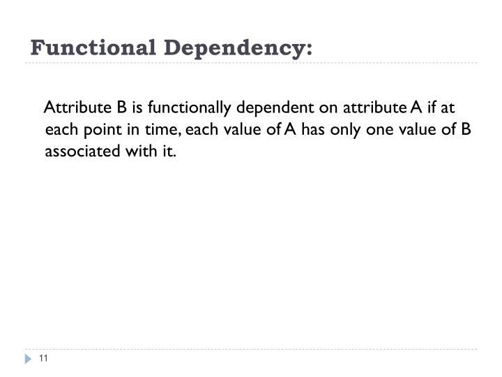 Functional Dependency: