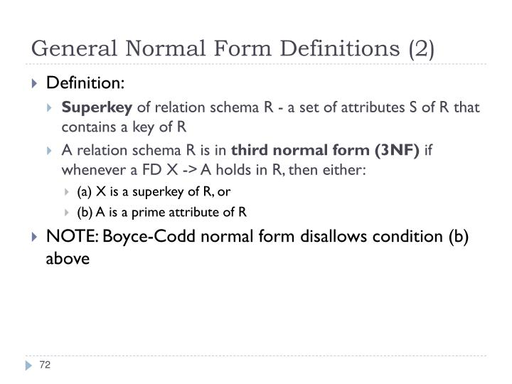 General Normal Form Definitions (2)
