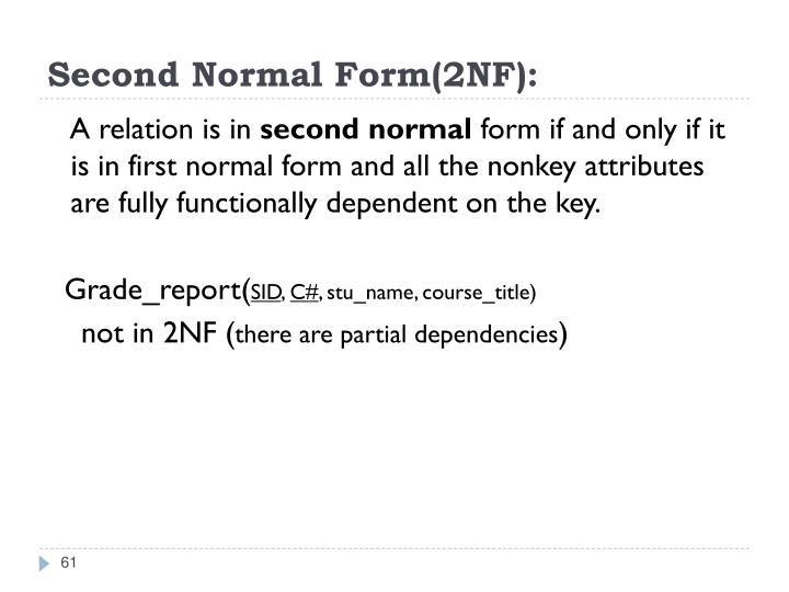 Second Normal Form(2NF):