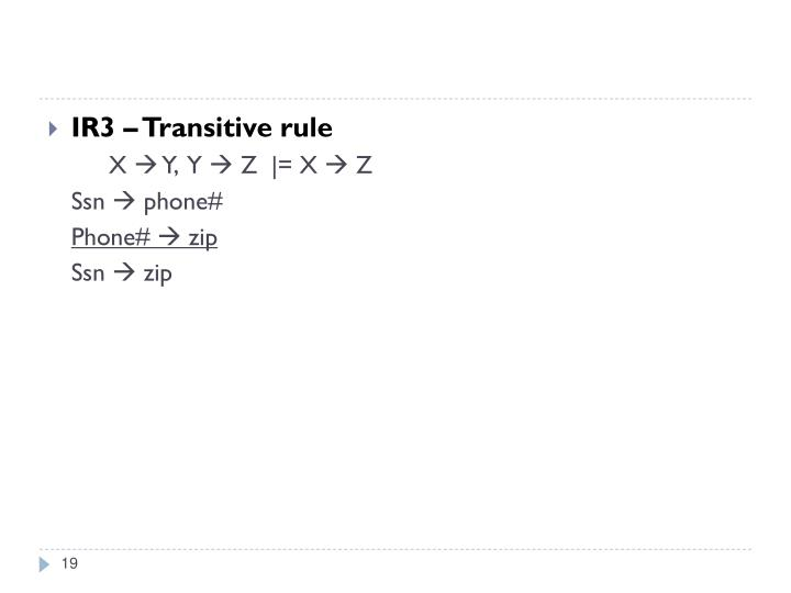 IR3 – Transitive rule