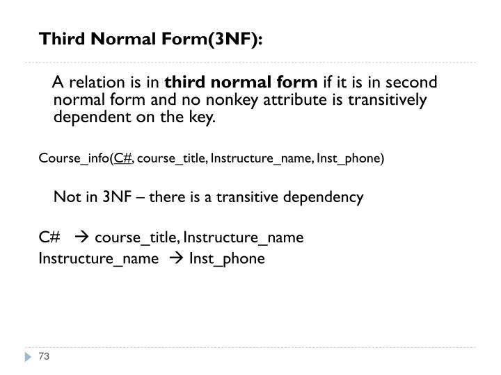 Third Normal Form(3NF):