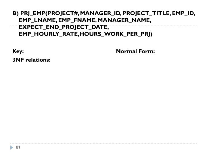 B) PRJ_EMP(PROJECT#, MANAGER_ID, PROJECT_TITLE, EMP_ID, EMP_LNAME, EMP_FNAME, MANAGER_NAME, EXPECT_END_PROJECT_DATE, EMP_HOURLY_RATE,HOURS_WORK_PER_PRJ)