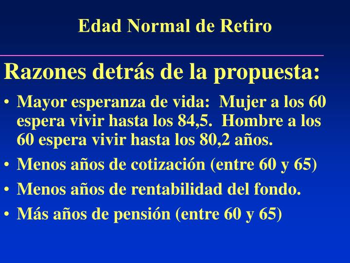 Edad Normal de Retiro