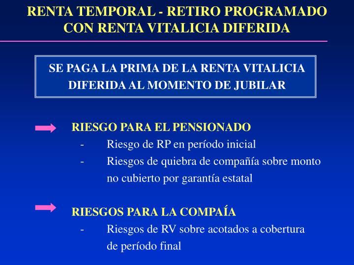 RENTA TEMPORAL - RETIRO PROGRAMADO