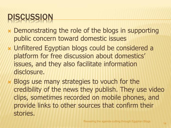 Demonstrating the role of the blogs in supporting public concern toward domestic issues