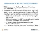 maintenance of the inter sectoral overview