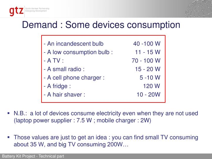 Demand : Some devices consumption