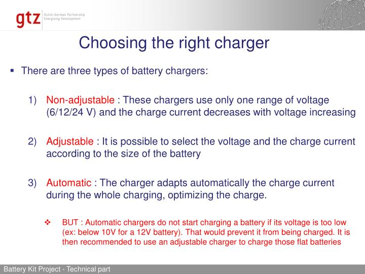 Choosing the right charger