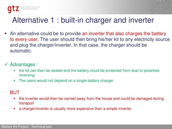 Alternative 1 : built-in charger and inverter