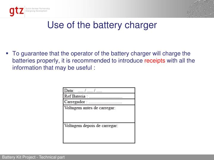 Use of the battery charger