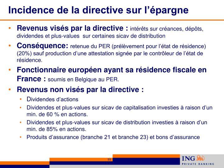 Incidence de la directive sur l'épargne