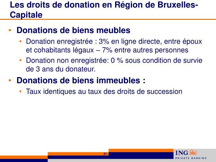 Les droits de donation en Région de Bruxelles-Capitale