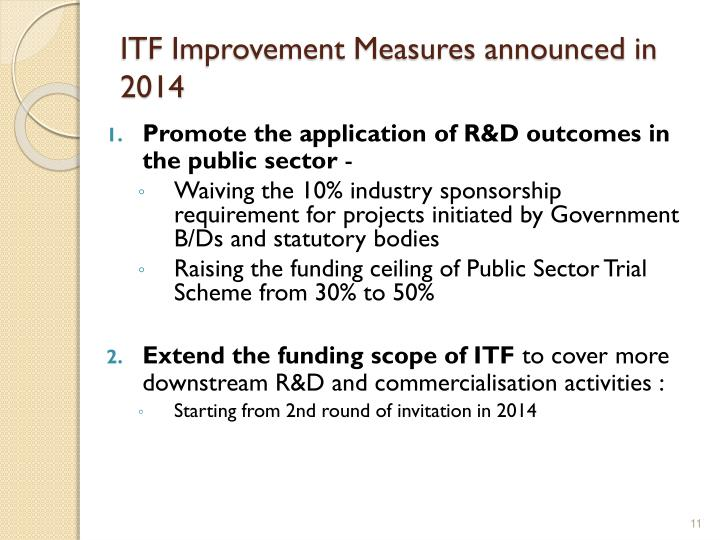 ITF Improvement Measures announced in 2014