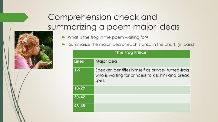 Comprehension check and summarizing a poem major ideas