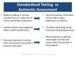 standardised testing vs authentic assessment