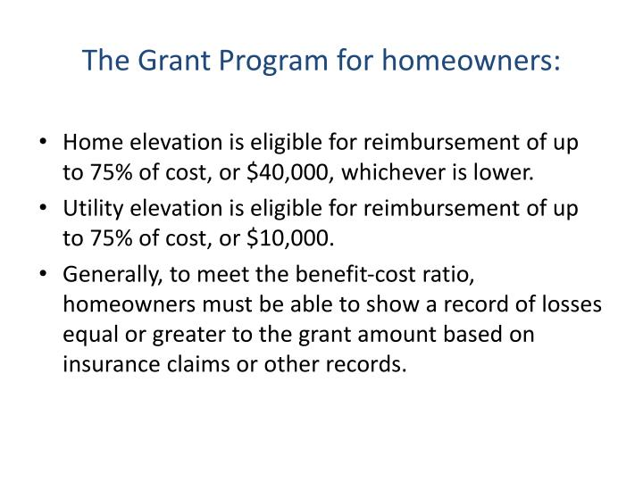 The Grant Program for homeowners: