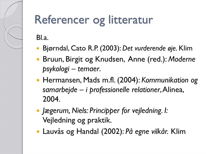 Referencer og litteratur