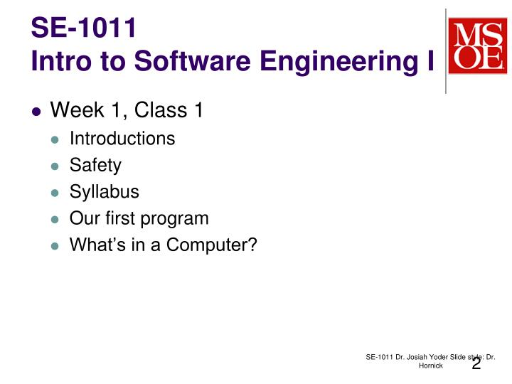 Se 1011 intro to software engineering i