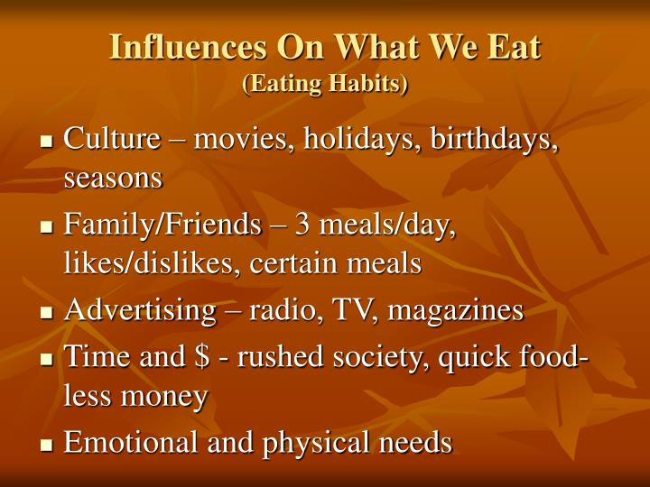eating habits chapter 1 Print this chapter  develop eating habits that follow the recommendations from reputable health organizations such as the american dietetic association and the.