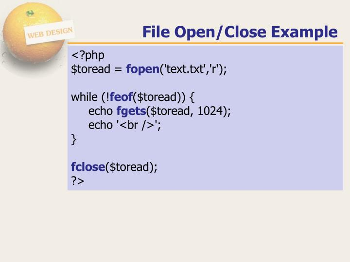 File Open/Close Example