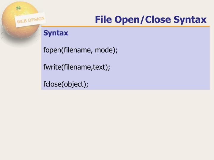 File Open/Close